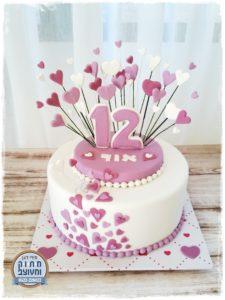 עוגת בת מצווה אור לבבות סגול