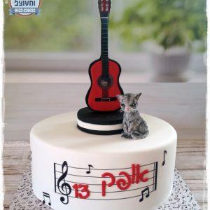 עוגת בר מצווה גיטרה וחתול
